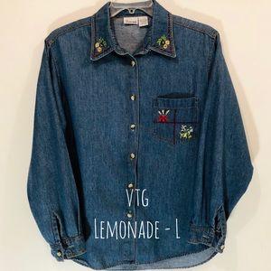 Soft Denim LEMONADE Embroidered Button Shirt Sz L